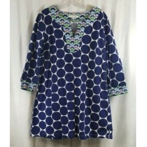 Boden Blue White Circle Print V Neck Dress 12